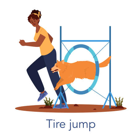 Dog agility tire jump. Training exercise for pet. Woman training her pet 写真素材 - 143438401