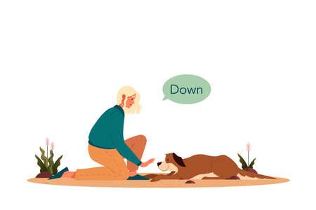 Woman training her pet dog. Happy puppy having command lesson.