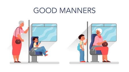 Good manners concept. Retired woman standing in the bus while little boy sitting. Biy giving way to an elderly person. Parenthood and child rearing concept. Isolated flat illustration Illustration