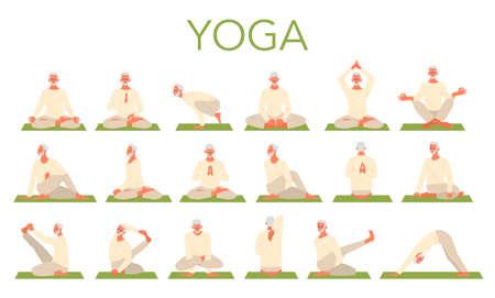 Old man doing yoga set. Asana or exercise for senior. Physical 写真素材 - 143438427