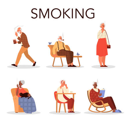 Old people smoking set. Retired man and woman sitting on a bench and in armchair smokes cigarette. Tobacco addiction. Vector cartoon illustration.