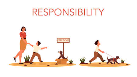 Rersponsibility concept. Mom let her son adopt the dog. Happy boy isresponsible for walking his dog. Parenthood and child rearing concept. Isolated flat illustration