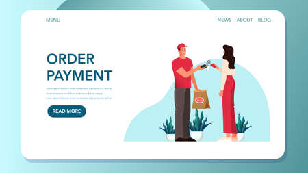 Food delivery and purchuse payment concept. Buying goods