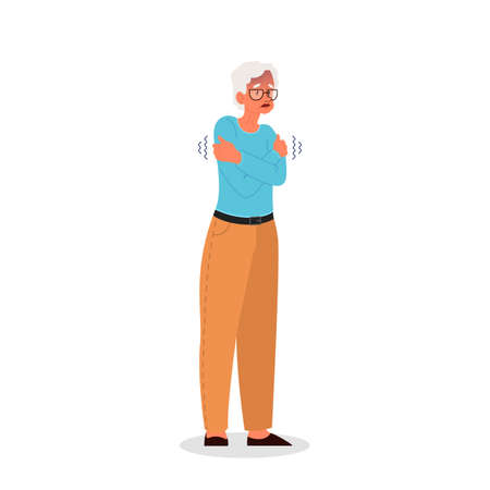 Old woman with a chill. Symptom of disease. Senior woman feel cold and shiver. Flu or cold. Vector illustration in cartoon style