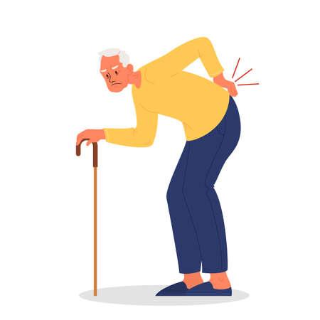 Vector illustration of old man with lumbar pain or injury. Man having a sore back, trauma in lumbar part of the colon. Vector illustration of body injury Illusztráció