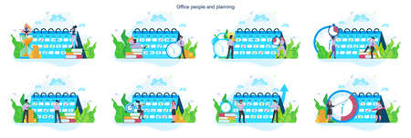 Businees people do planning concept set. Idea of business plan and strategy. Setting a goal or target and following schedule. Isolated flat illustration