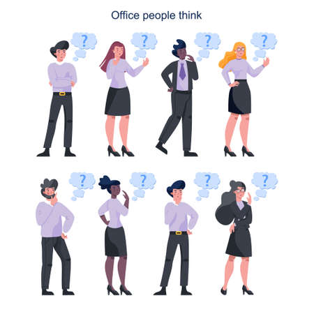 Thoughtfull business people set. Woman and man thinking 向量圖像
