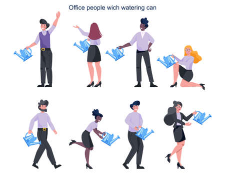 Business people in formal office clothes holding a watering can set. Growth concept illustration. Idea of success, improvement and achievement. Isolated vector illustration in cartoon style