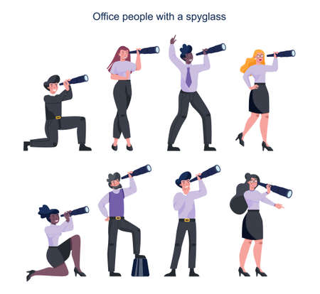 Business people in formal office clothes holding a spyglass. Office manager with telescope. Man and woman searching for new perspectiv and opportunity. Leadership concept. Vector illustration