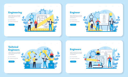 Engineeering web banner or landing page set. Technology and science. Professional occupation to design and build machines and structures. Architecture work or designer. Isolated vector illustration