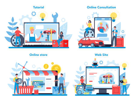 Car service online service or platform on differernt device concept set. Online workshop, consultation or video tutorial Idea of auto repair and diagnostic. Isolated flat vector illustration
