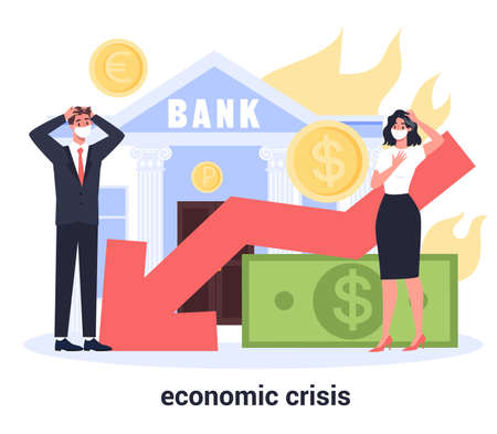 Economic finance crisis with falling down graph and money decrease.
