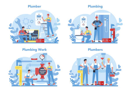Plumbing service concept set. Professional repair and cleaning of plumbing and bathroom equipmen. Vector illustration. Vector Illustration