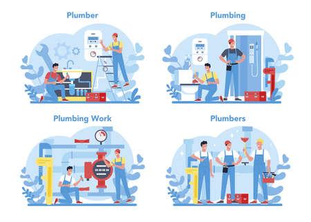 Sanitär-Service-Konzept-Set. Fachgerechte Reparatur und Reinigung von Sanitär- und Sanitäranlagen. Vektor-Illustration. Vektorgrafik