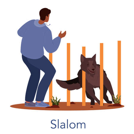 Dog agility salom. Training exercise for pet. Man training his pet dog.