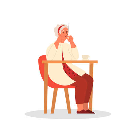 Old person smoking. Retired woman sitting in armchair and smoking Stock Illustratie