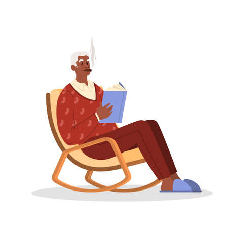 Old person smoking. Retired man sitting in an armchair with a book Stock Illustratie