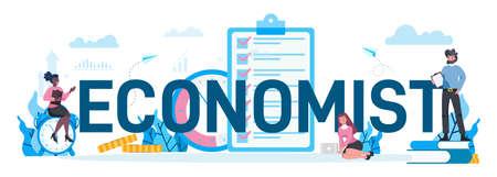 Economists typographic concept. Business people work with money. Illustration