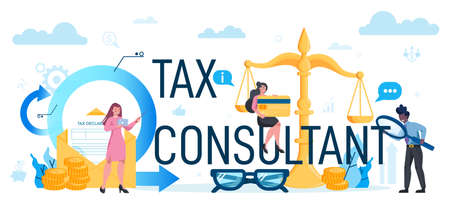 Tax consultant concept set. Idea of accounting and payment. 矢量图像