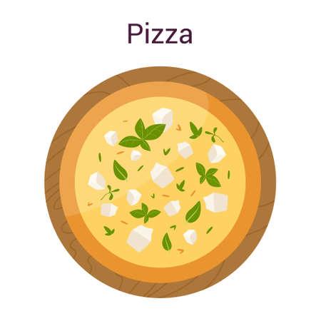 Delicious four cheeses pizza. Italian food. Ricotta Illustration