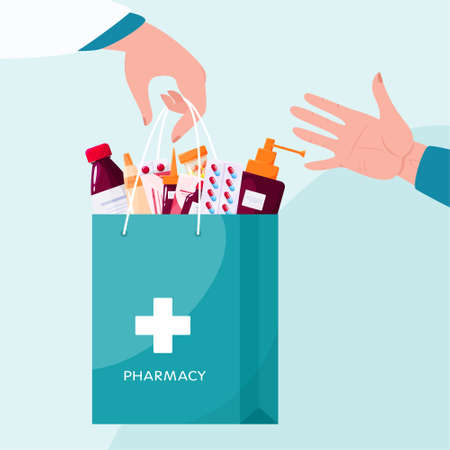 Pharmacy concept. Pharmacist standing and holding a big bag