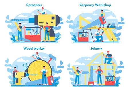 Woodworker or carpenter concept set. Builder wearing helmet and overalls