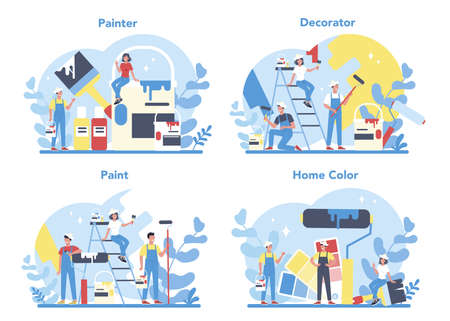 Painter, decorator concept set. People in the uniform paint the wall