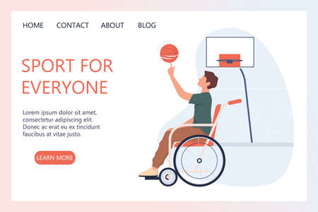 Joyful disabled man in wheelchair playing basketball. Adaptive sports
