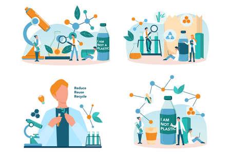 Biodegradable plastic invention and development set. Scientist make