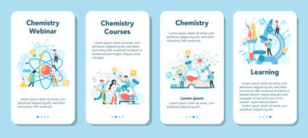 Chemistry studying on webinar or course mobile application banner
