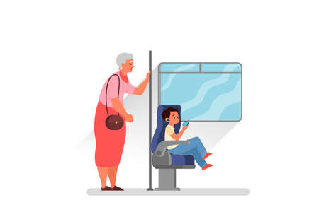 Good manners concept. Retired woman standing in the bus while little boy sitting. Parenthood and child rearing concept. Isolated flat illustration