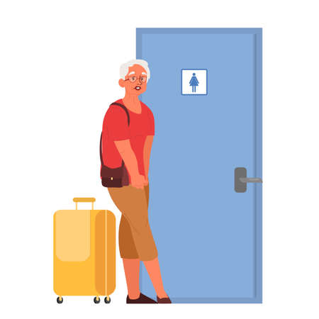 Old woman in the airport waitting the bathroom to open. Elderly passenger with baggage waiting in airport terminal for boarding. Idea of travel and tourism. Isolated vector illustration