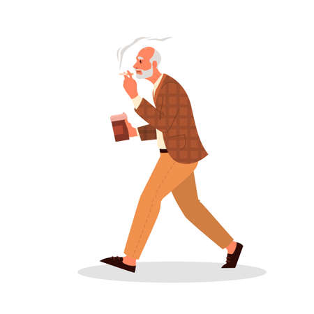 Old person smoking. Retired man walking with a cup of coffee