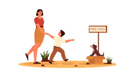 Rersponsibility concept. Mom let her son adopt the dog. Cute dog in a box with , homeless animal, pets adoption. Parenthood and child rearing. Isolated flat illustration Ilustração