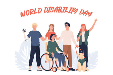 World disability day. Disabled people standing together. Illusztráció