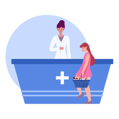 Modern pharmacy interior with visitor. Client order and buy Vector Illustration