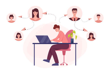 Social network concept. Communication and connection around the world through digital device. Global community of different people. Worldwide technology concept. Vector illustration in cartoon style