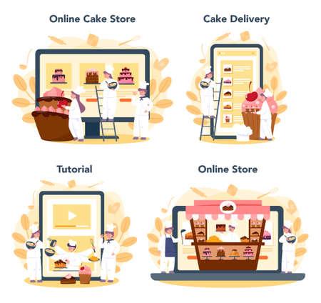 Confectioner online service or platform set. Online store, baking