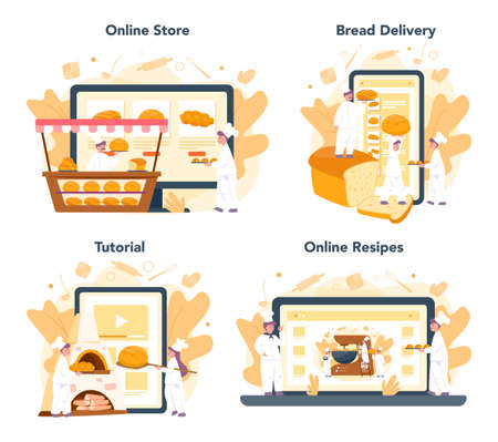 Baker and bakery online service or platform set. Chef in the uniform baking bread. Baking pastry process. Online shop, delivery, recipe or video tutorial. Isolated vector illustration in cartoon style Çizim