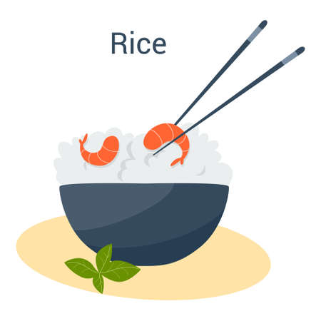 Rice bowl with shrimp. Chinese grain dish, asian food. Vegetarian meal Vettoriali