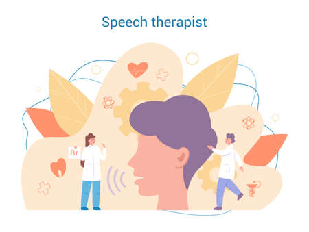 Speech therapist concept. Didactic correction and treatment idea.