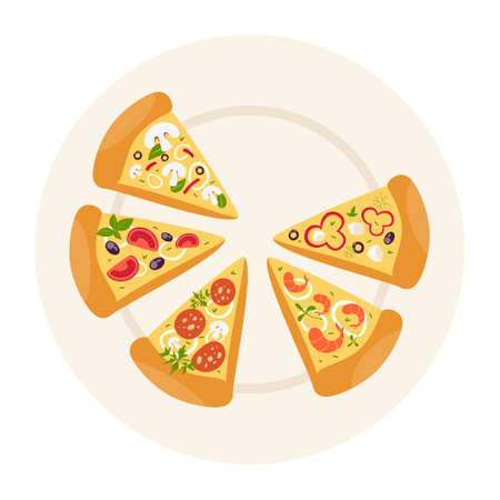 Tifferent types of pizza in slices. Margherita and pepperoni, vegetarian
