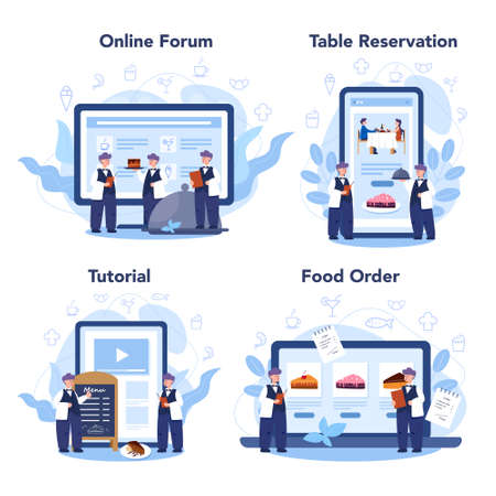 Restaurant online service or platform set. Waiter staff in the uniform, catering service. Table reservation and online order. Isolated vector illustration in cartoon style