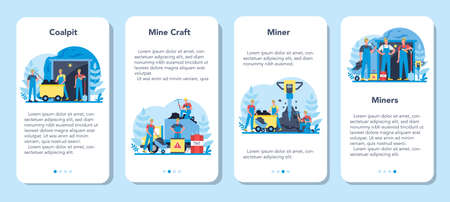 Coal or minerals mining mobile application banner set
