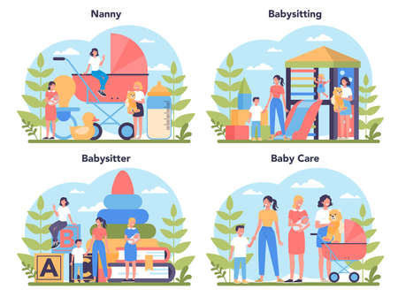 Babysitter service or nanny agency concept set. In-home babysitter. Woman taking care of baby, playing with child. Isolated vector illustration Illustration