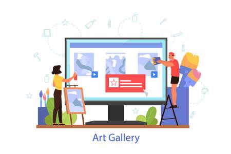 Online museum or art gallery concept. Artist online platform.