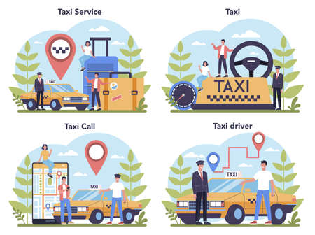 Taxi service concept set. Yellow taxi car. Automobile cab with driver inside. Idea of public city transportation. Isolated flat illustration Vector Illustration