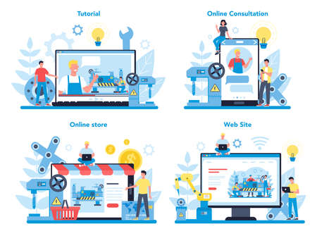 Turner or lathe online service or platform concept set. Factory worker Ilustração