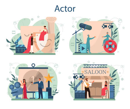 Actor and actress concept set. Idea of creative people and profession. Theatrical perfomances and movie production. Vector illustration