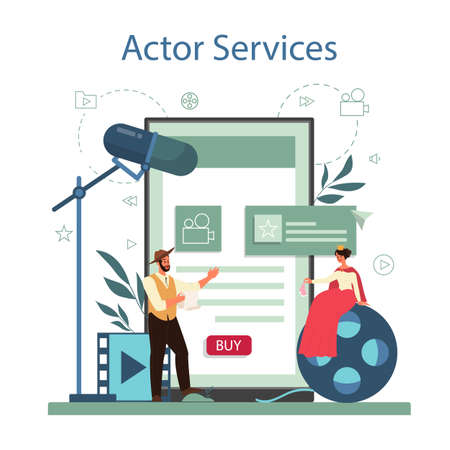 Actor and actress online service or platform. Idea of creative people and profession. Theatrical perfomances and movie production. Vector illustration